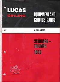 front page of Lucas Standard-Triumph 1969 parts and service items catalogue - click here to download