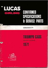 Triumph Cars - Lucas Girling 1971