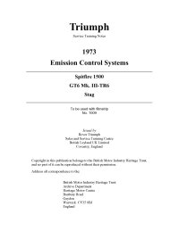 Triumph Service Training Notes 1973 Emission Control Systems Spitfire1500, GT6 MkIII, TR6, Stag